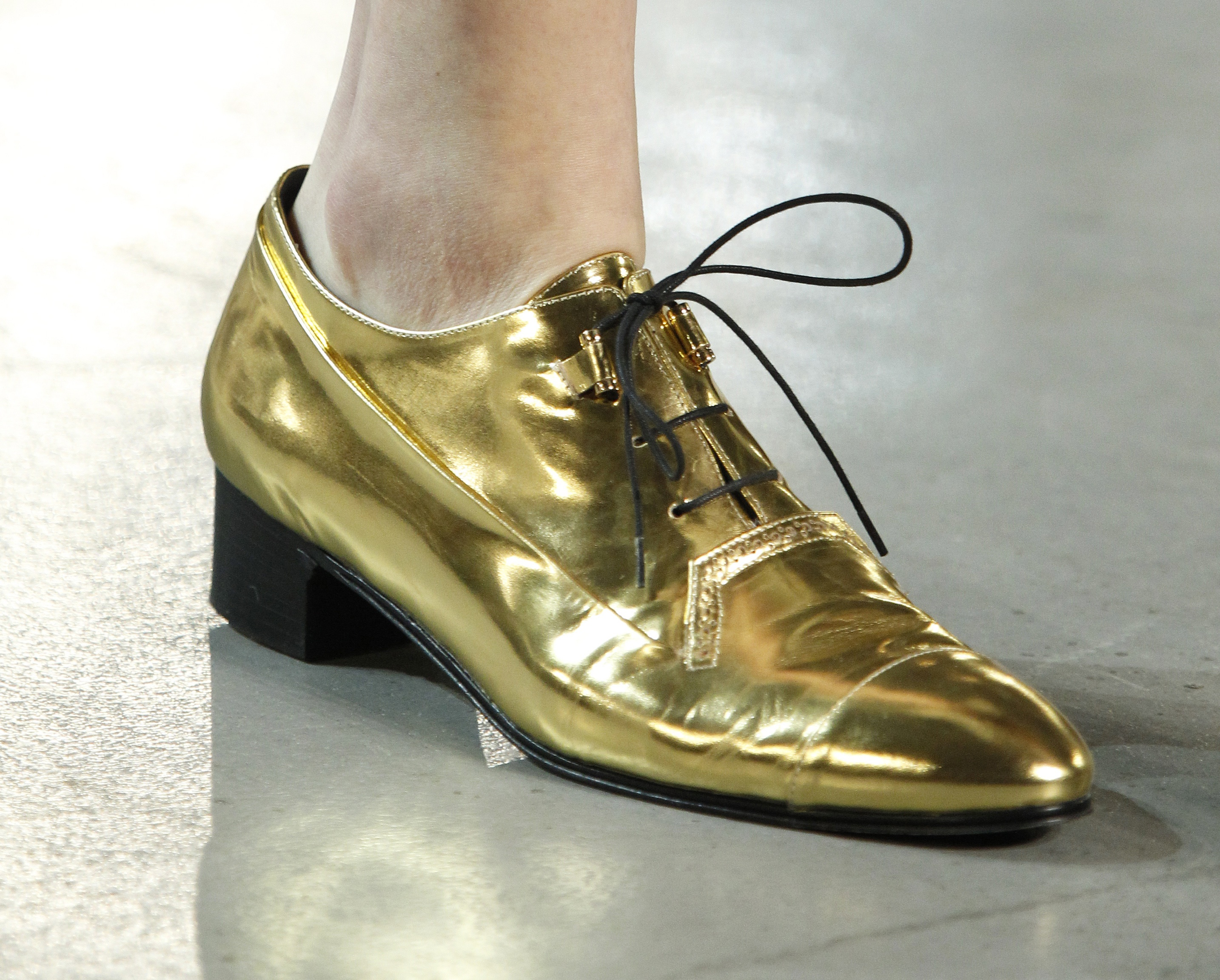Gold Lace Up Flats By Derek Lam