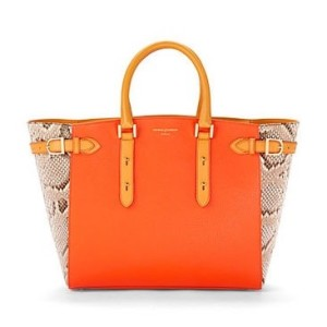 Orange Pebble & Malaysian Natural Python Marylebone Tote